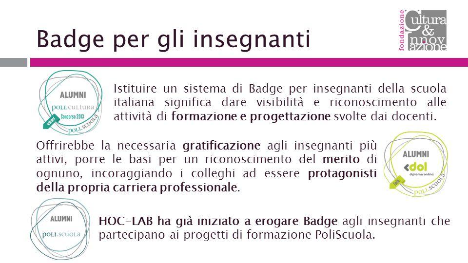 Badge per gli insegnanti Istituire un sistema di Badge per insegnanti della scuola italiana significa dare visibilità e riconoscimento alle attività di formazione e progettazione svolte dai docenti.