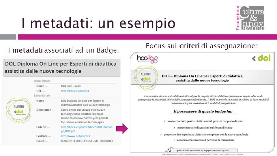 I metadati: un esempio I metadati associati ad un Badge: Focus sui criteri di assegnazione: