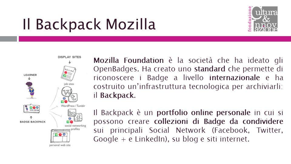 Il Backpack Mozilla Mozilla Foundation è la società che ha ideato gli OpenBadges.