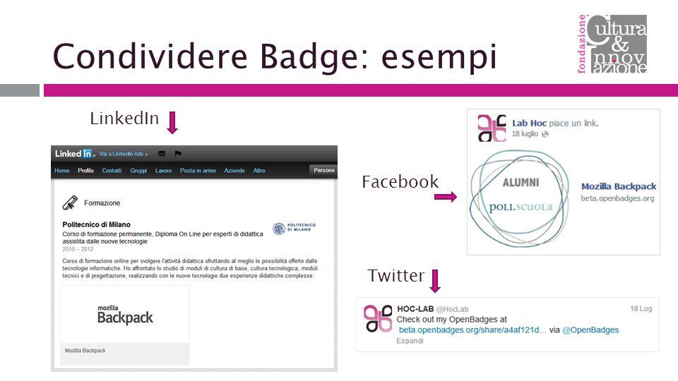 Condividere Badge: esempi Facebook Twitter LinkedIn