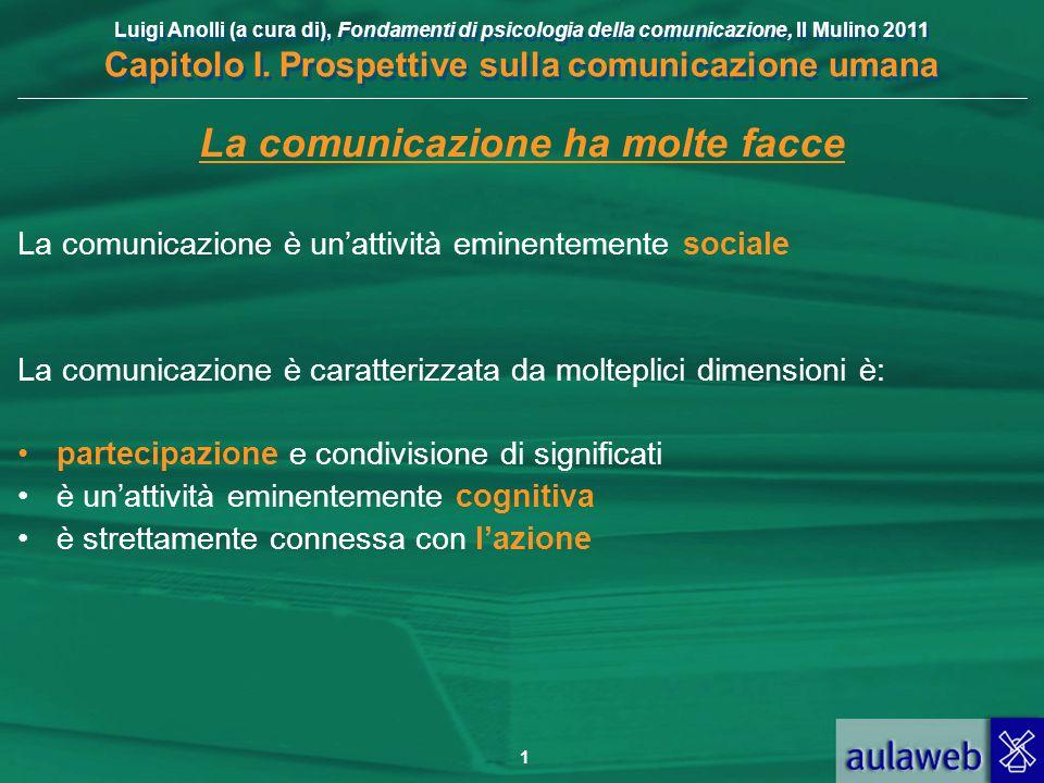 Luigi Anolli (a cura di), Fondamenti di psicologia della comunicazione, Il Mulino 2011 Capitolo I. Prospettive sulla comunicazione umana La comunicazi