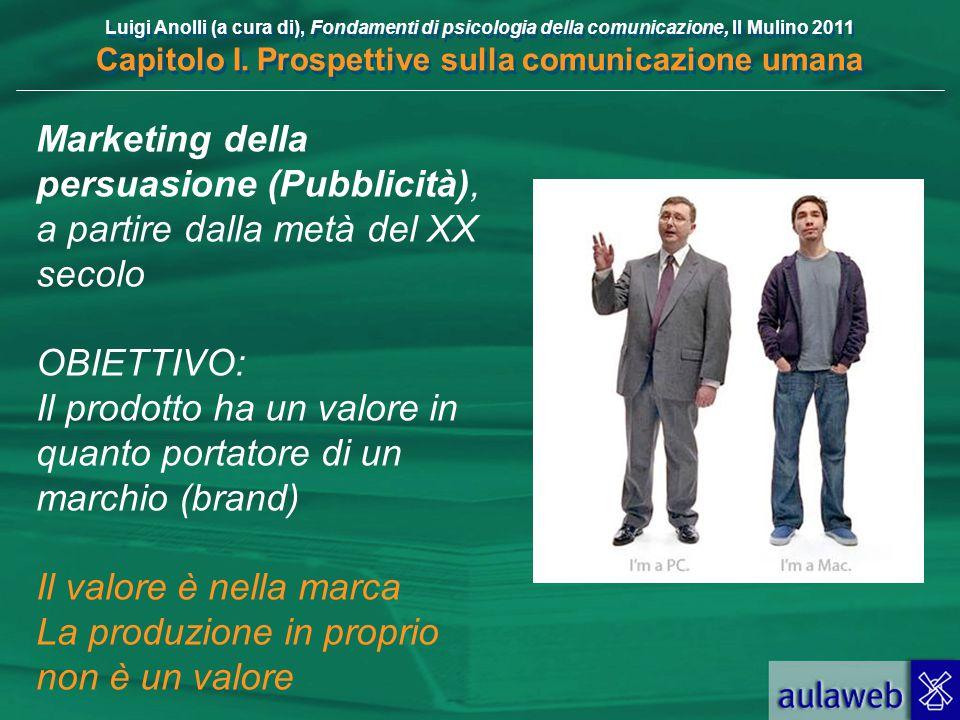 Luigi Anolli (a cura di), Fondamenti di psicologia della comunicazione, Il Mulino 2011 Capitolo I. Prospettive sulla comunicazione umana Marketing del