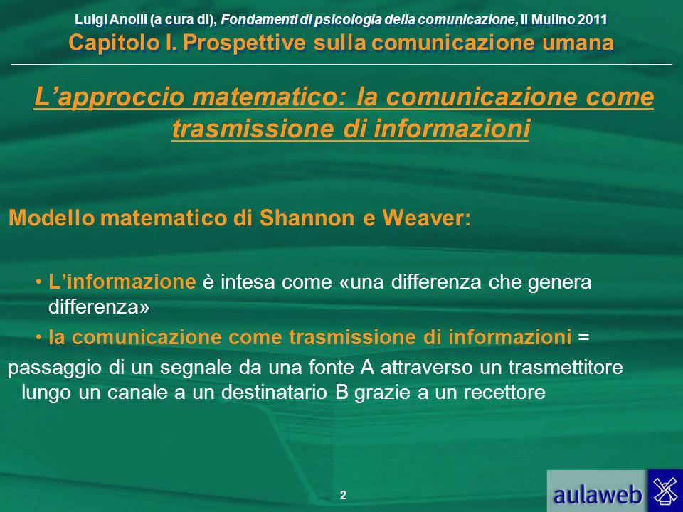 Luigi Anolli (a cura di), Fondamenti di psicologia della comunicazione, Il Mulino 2011 Capitolo I. Prospettive sulla comunicazione umana 2 L'approccio