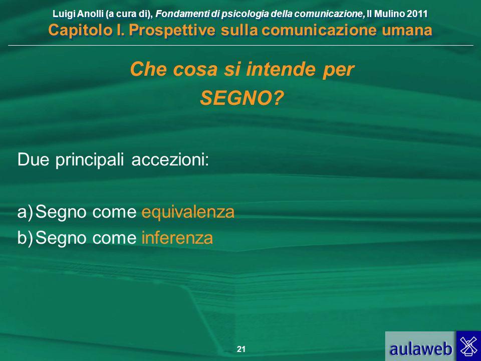 Luigi Anolli (a cura di), Fondamenti di psicologia della comunicazione, Il Mulino 2011 Capitolo I. Prospettive sulla comunicazione umana 21 Che cosa s