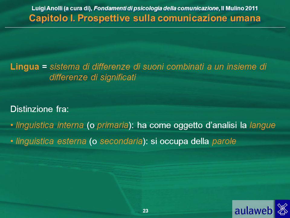 Luigi Anolli (a cura di), Fondamenti di psicologia della comunicazione, Il Mulino 2011 Capitolo I. Prospettive sulla comunicazione umana 23 Lingua = s