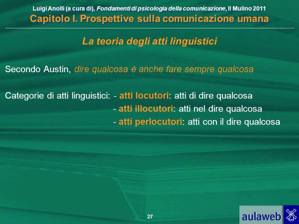 Luigi Anolli (a cura di), Fondamenti di psicologia della comunicazione, Il Mulino 2011 Capitolo I. Prospettive sulla comunicazione umana 27 La teoria