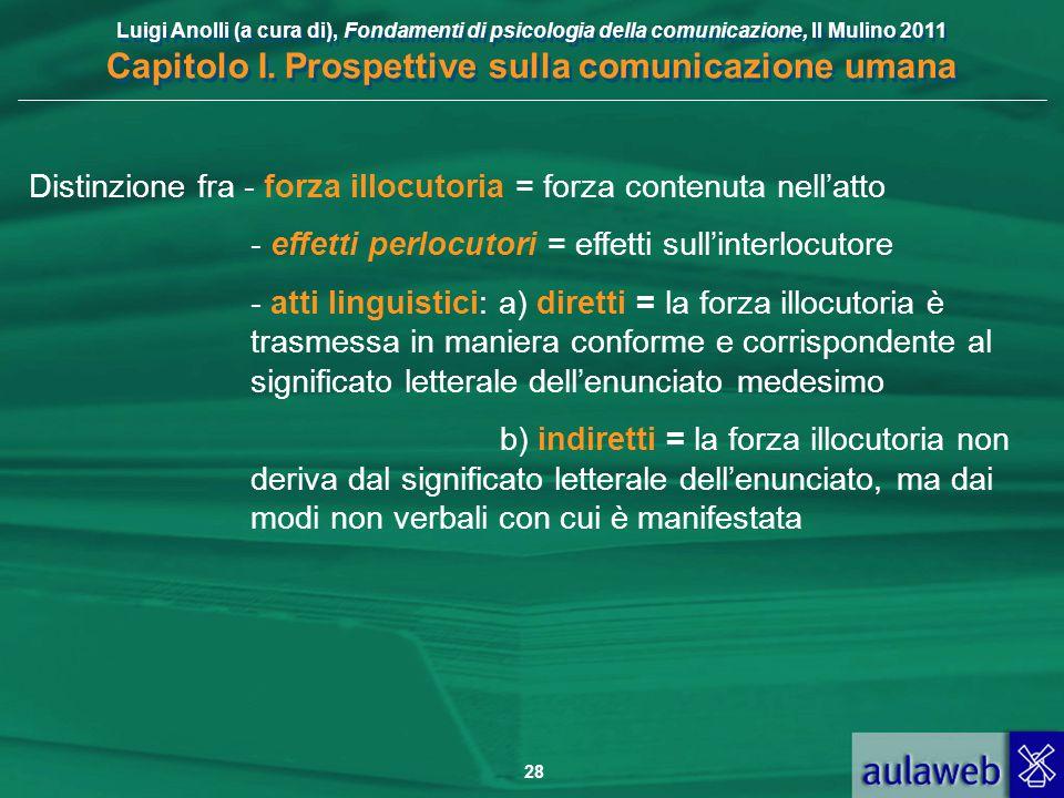 Luigi Anolli (a cura di), Fondamenti di psicologia della comunicazione, Il Mulino 2011 Capitolo I. Prospettive sulla comunicazione umana 28 Distinzion