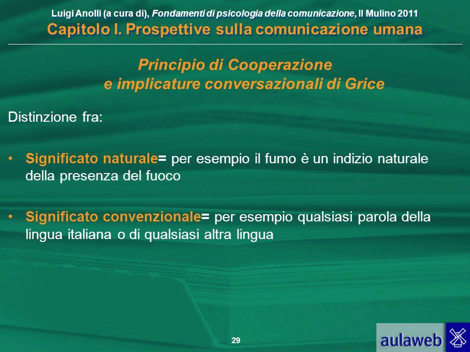Luigi Anolli (a cura di), Fondamenti di psicologia della comunicazione, Il Mulino 2011 Capitolo I. Prospettive sulla comunicazione umana 29 Principio