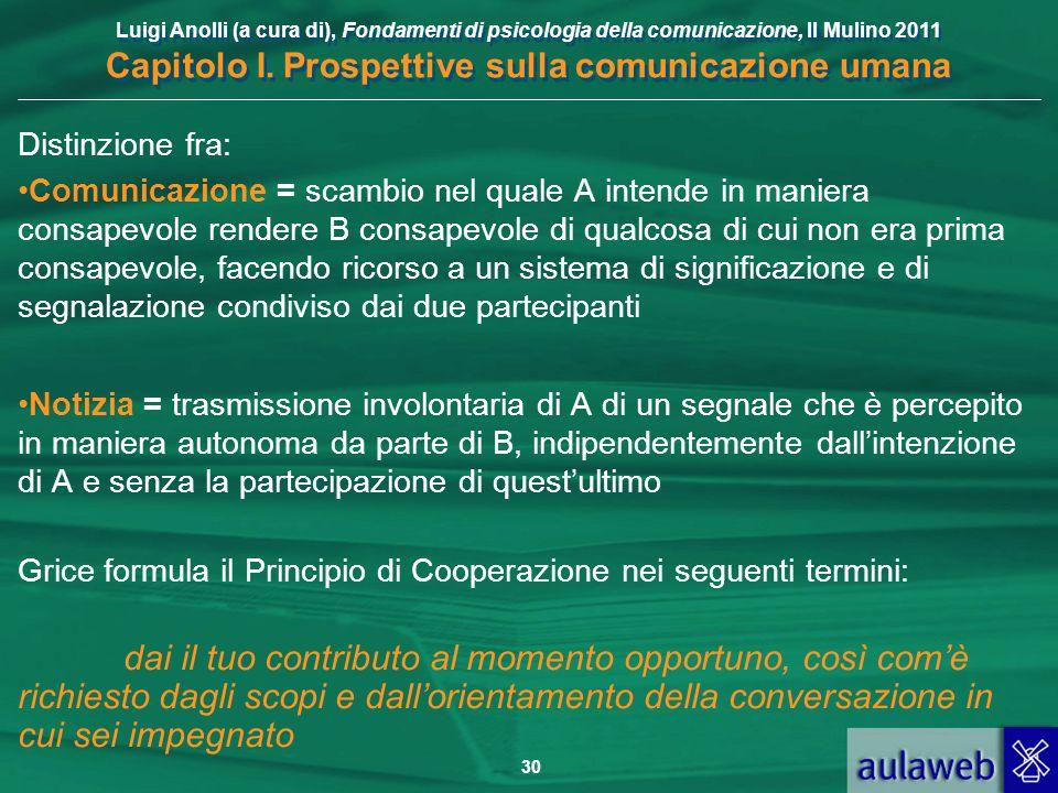 Luigi Anolli (a cura di), Fondamenti di psicologia della comunicazione, Il Mulino 2011 Capitolo I. Prospettive sulla comunicazione umana 30 Distinzion
