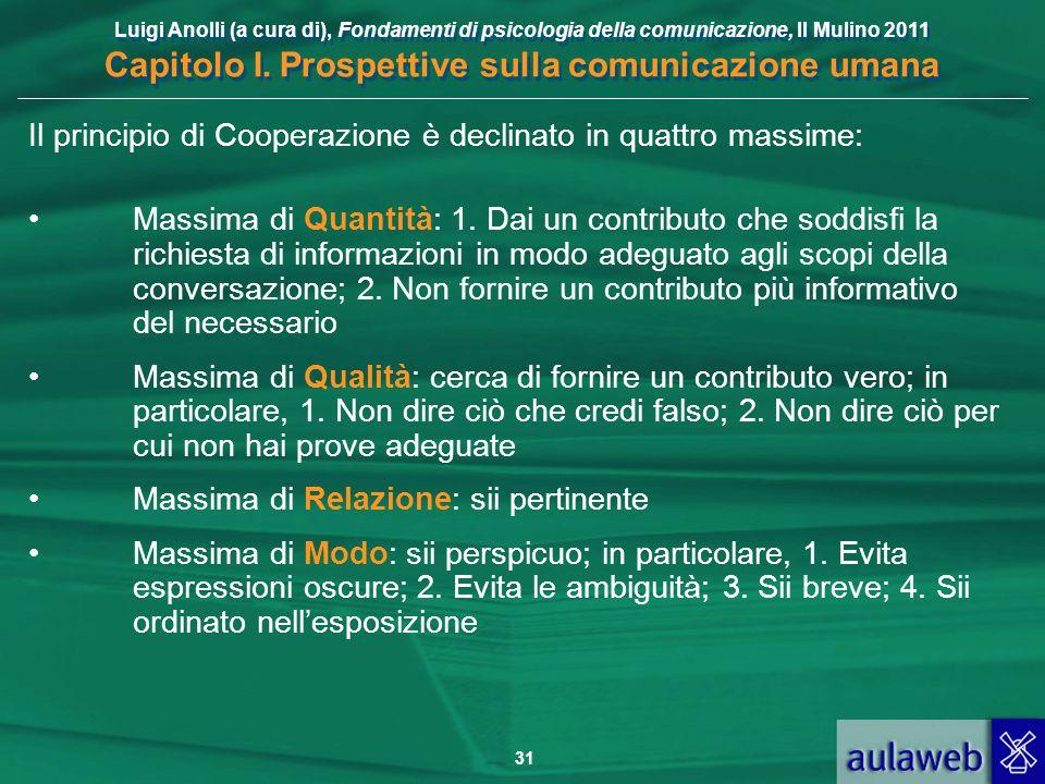 Luigi Anolli (a cura di), Fondamenti di psicologia della comunicazione, Il Mulino 2011 Capitolo I. Prospettive sulla comunicazione umana 31 Il princip