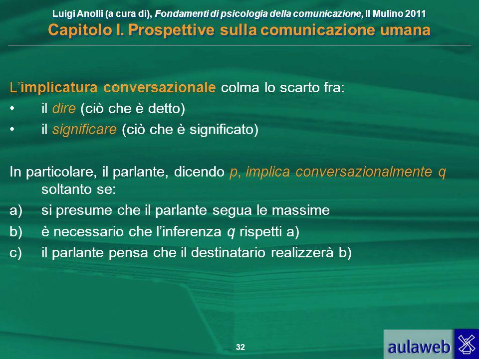 Luigi Anolli (a cura di), Fondamenti di psicologia della comunicazione, Il Mulino 2011 Capitolo I. Prospettive sulla comunicazione umana 32 L'implicat