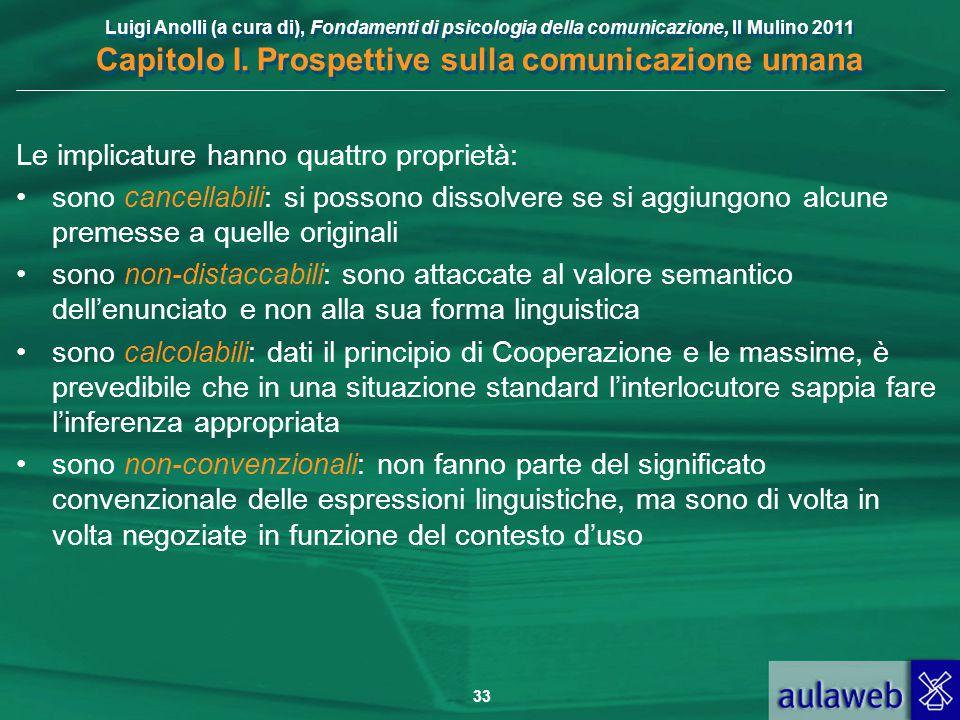 Luigi Anolli (a cura di), Fondamenti di psicologia della comunicazione, Il Mulino 2011 Capitolo I. Prospettive sulla comunicazione umana 33 Le implica