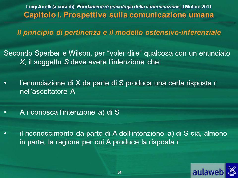 Luigi Anolli (a cura di), Fondamenti di psicologia della comunicazione, Il Mulino 2011 Capitolo I. Prospettive sulla comunicazione umana 34 Il princip