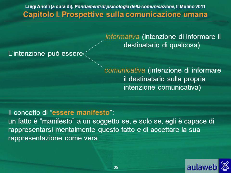 Luigi Anolli (a cura di), Fondamenti di psicologia della comunicazione, Il Mulino 2011 Capitolo I. Prospettive sulla comunicazione umana 35 informativ