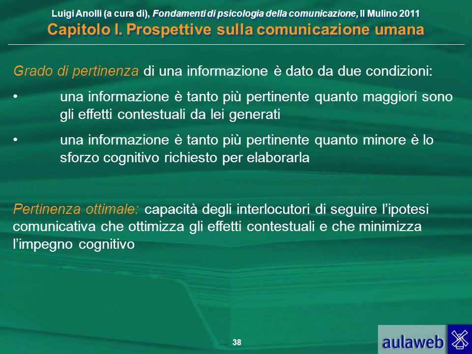 Luigi Anolli (a cura di), Fondamenti di psicologia della comunicazione, Il Mulino 2011 Capitolo I. Prospettive sulla comunicazione umana 38 Grado di p