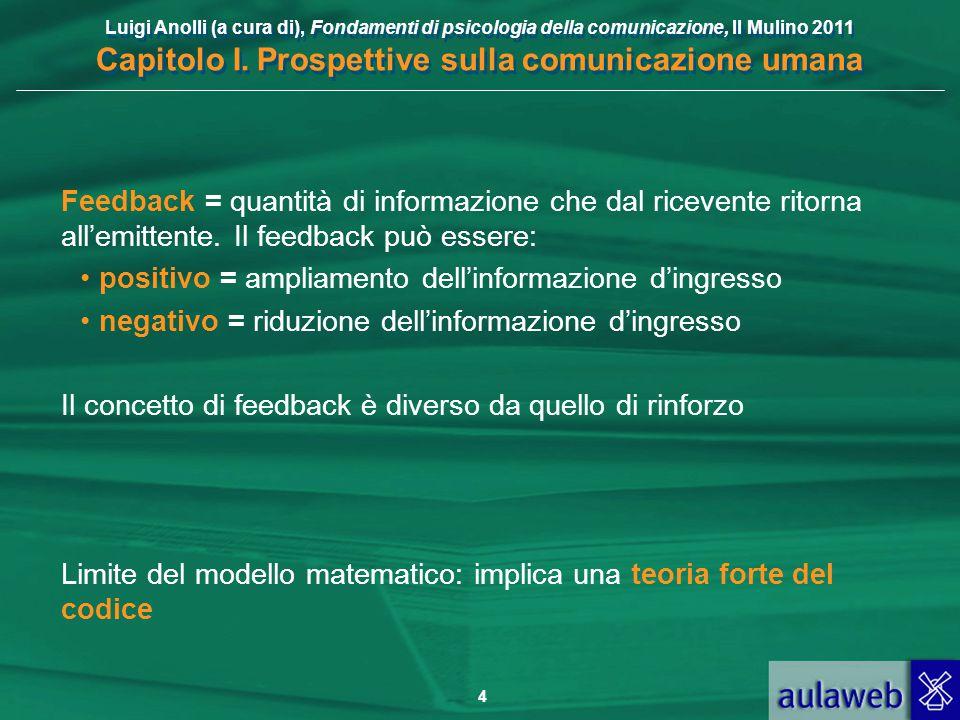 Luigi Anolli (a cura di), Fondamenti di psicologia della comunicazione, Il Mulino 2011 Capitolo I. Prospettive sulla comunicazione umana 4 Feedback =