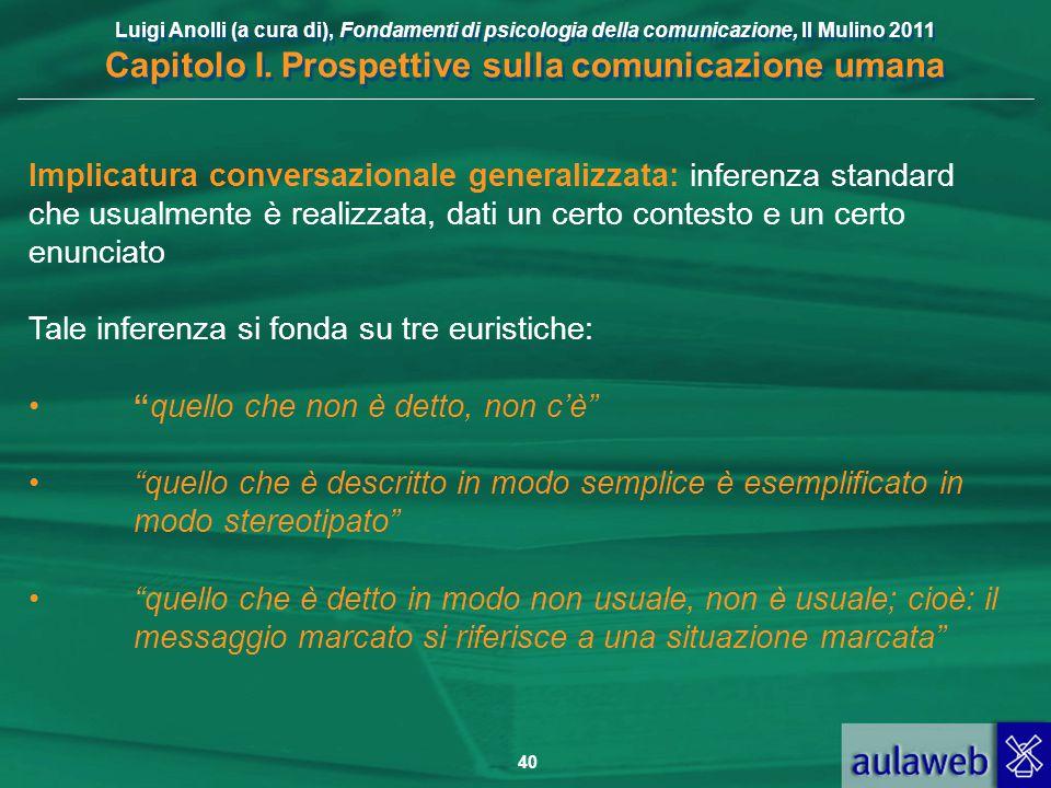 Luigi Anolli (a cura di), Fondamenti di psicologia della comunicazione, Il Mulino 2011 Capitolo I. Prospettive sulla comunicazione umana 40 Implicatur