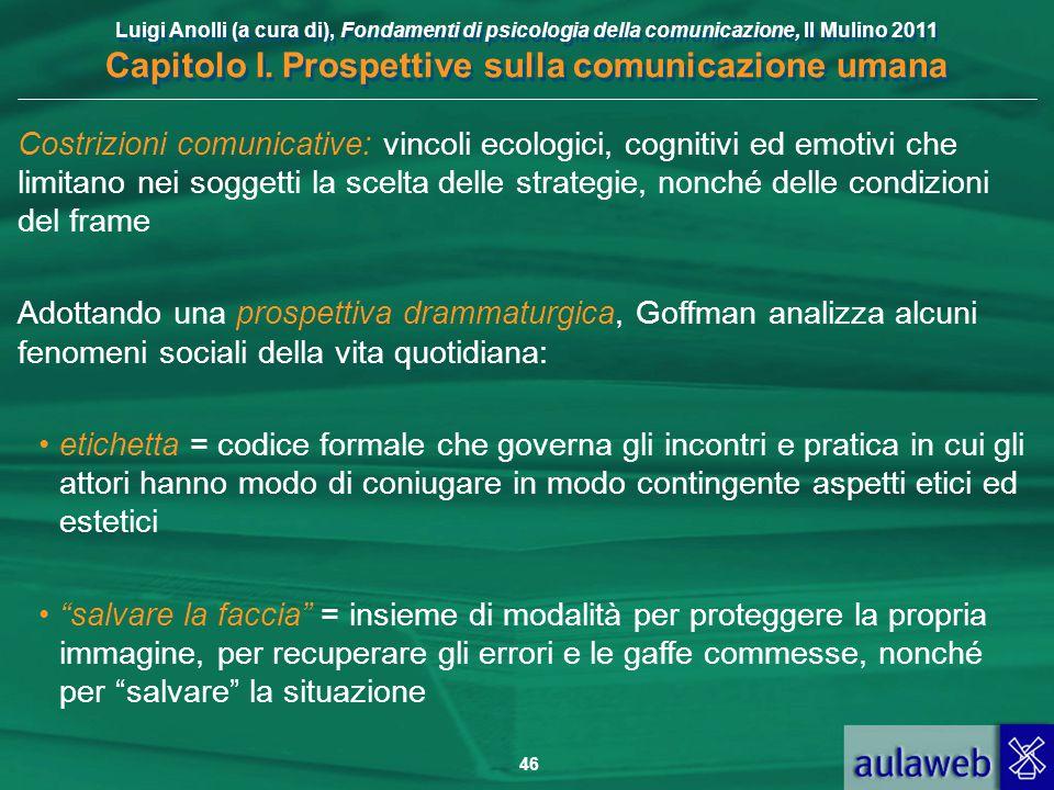 Luigi Anolli (a cura di), Fondamenti di psicologia della comunicazione, Il Mulino 2011 Capitolo I. Prospettive sulla comunicazione umana 46 Costrizion