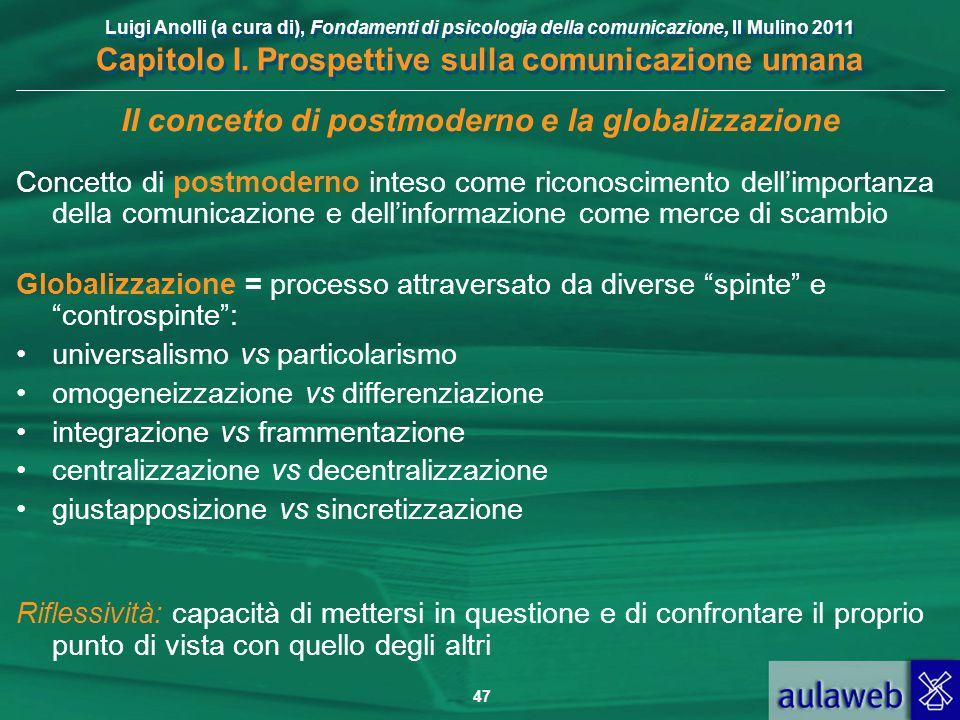 Luigi Anolli (a cura di), Fondamenti di psicologia della comunicazione, Il Mulino 2011 Capitolo I. Prospettive sulla comunicazione umana 47 Il concett