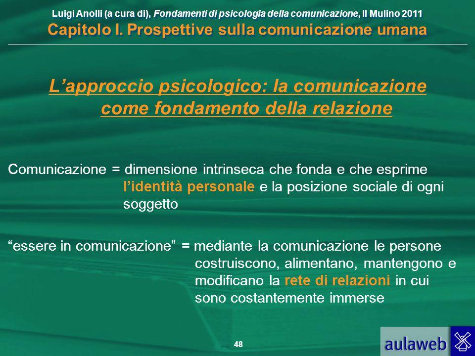 Luigi Anolli (a cura di), Fondamenti di psicologia della comunicazione, Il Mulino 2011 Capitolo I. Prospettive sulla comunicazione umana 48 L'approcci