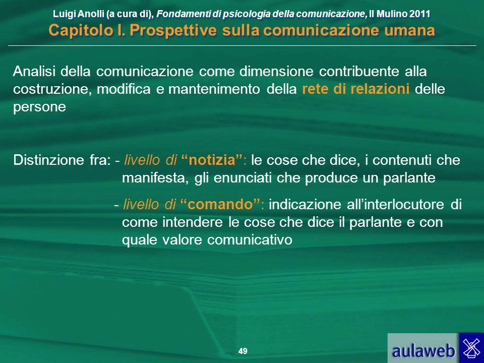 Luigi Anolli (a cura di), Fondamenti di psicologia della comunicazione, Il Mulino 2011 Capitolo I. Prospettive sulla comunicazione umana 49 Analisi de
