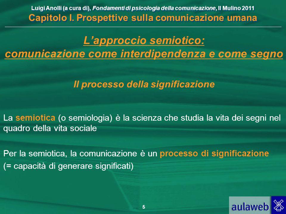 Luigi Anolli (a cura di), Fondamenti di psicologia della comunicazione, Il Mulino 2011 Capitolo I. Prospettive sulla comunicazione umana 5 L'approccio