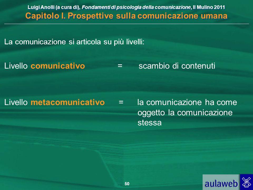 Luigi Anolli (a cura di), Fondamenti di psicologia della comunicazione, Il Mulino 2011 Capitolo I. Prospettive sulla comunicazione umana 50 La comunic