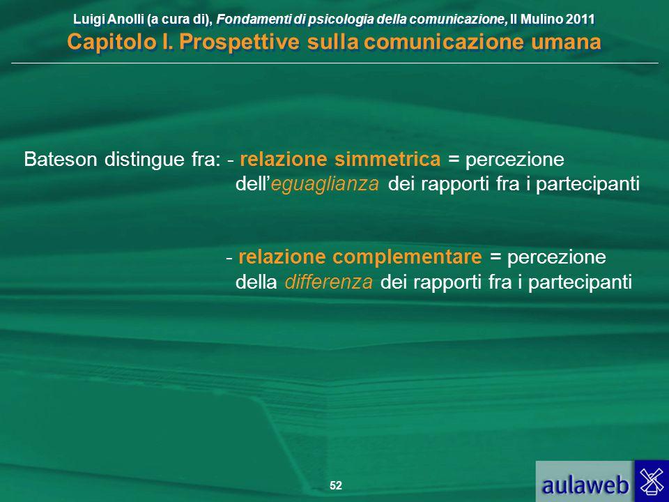 Luigi Anolli (a cura di), Fondamenti di psicologia della comunicazione, Il Mulino 2011 Capitolo I. Prospettive sulla comunicazione umana 52 Bateson di