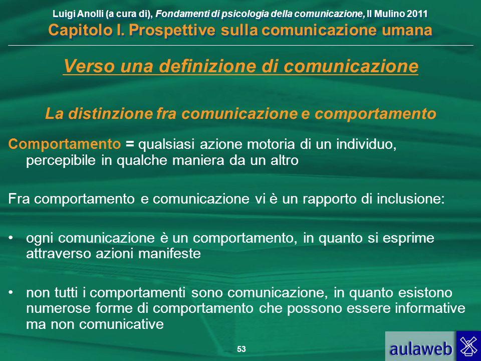 Luigi Anolli (a cura di), Fondamenti di psicologia della comunicazione, Il Mulino 2011 Capitolo I. Prospettive sulla comunicazione umana 53 Verso una