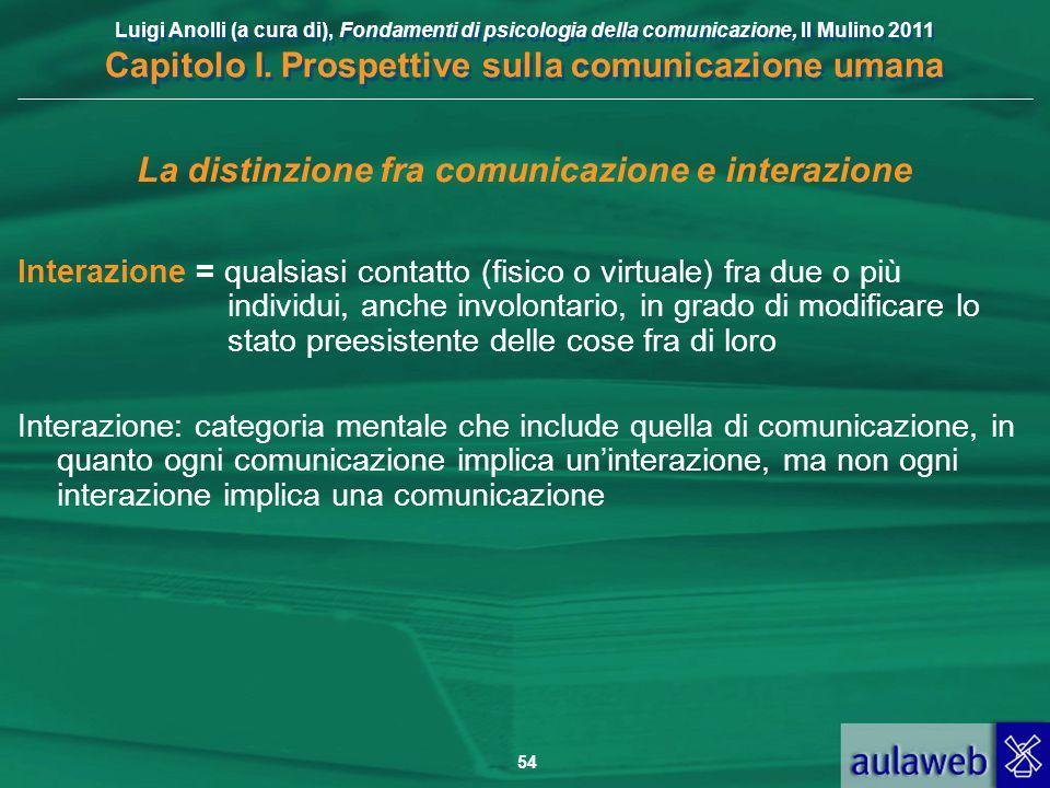 Luigi Anolli (a cura di), Fondamenti di psicologia della comunicazione, Il Mulino 2011 Capitolo I. Prospettive sulla comunicazione umana 54 La distinz