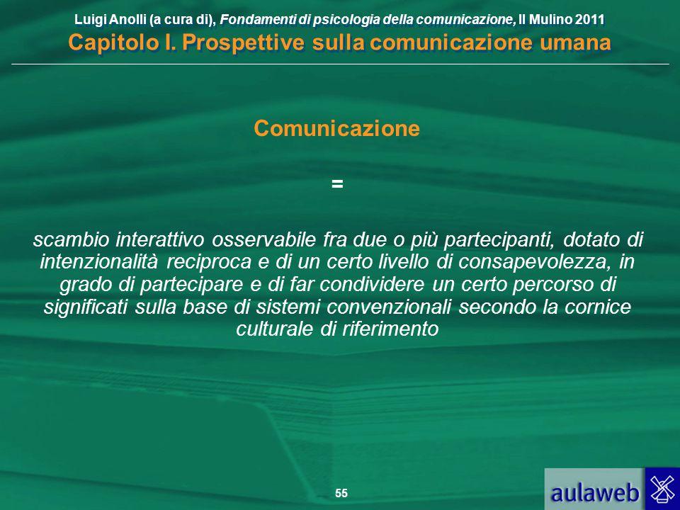 Luigi Anolli (a cura di), Fondamenti di psicologia della comunicazione, Il Mulino 2011 Capitolo I. Prospettive sulla comunicazione umana 55 Comunicazi