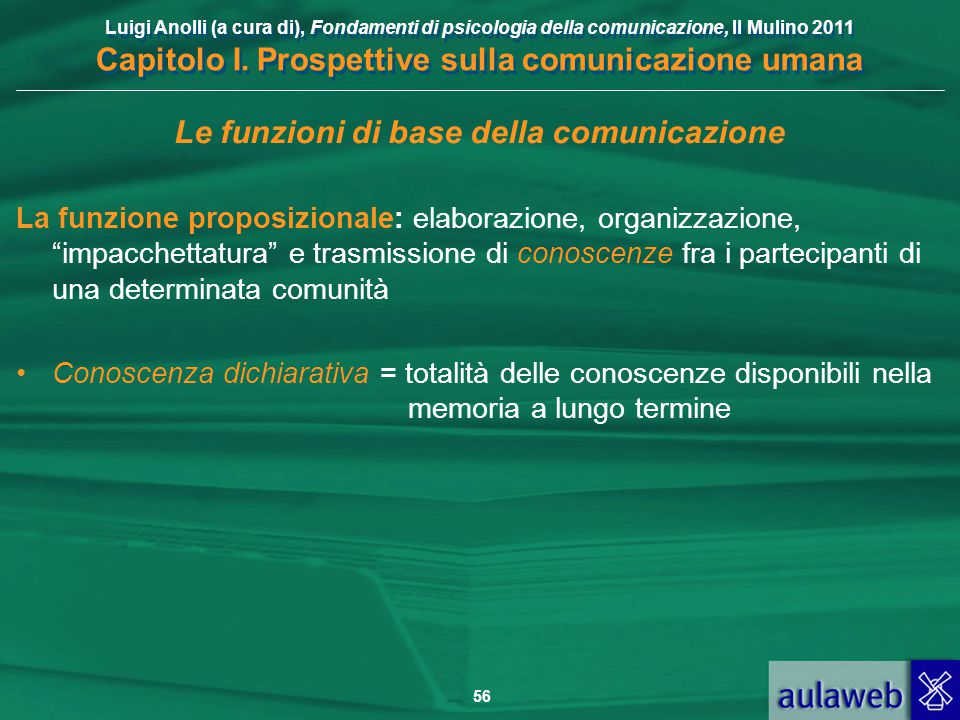 Luigi Anolli (a cura di), Fondamenti di psicologia della comunicazione, Il Mulino 2011 Capitolo I. Prospettive sulla comunicazione umana 56 Le funzion