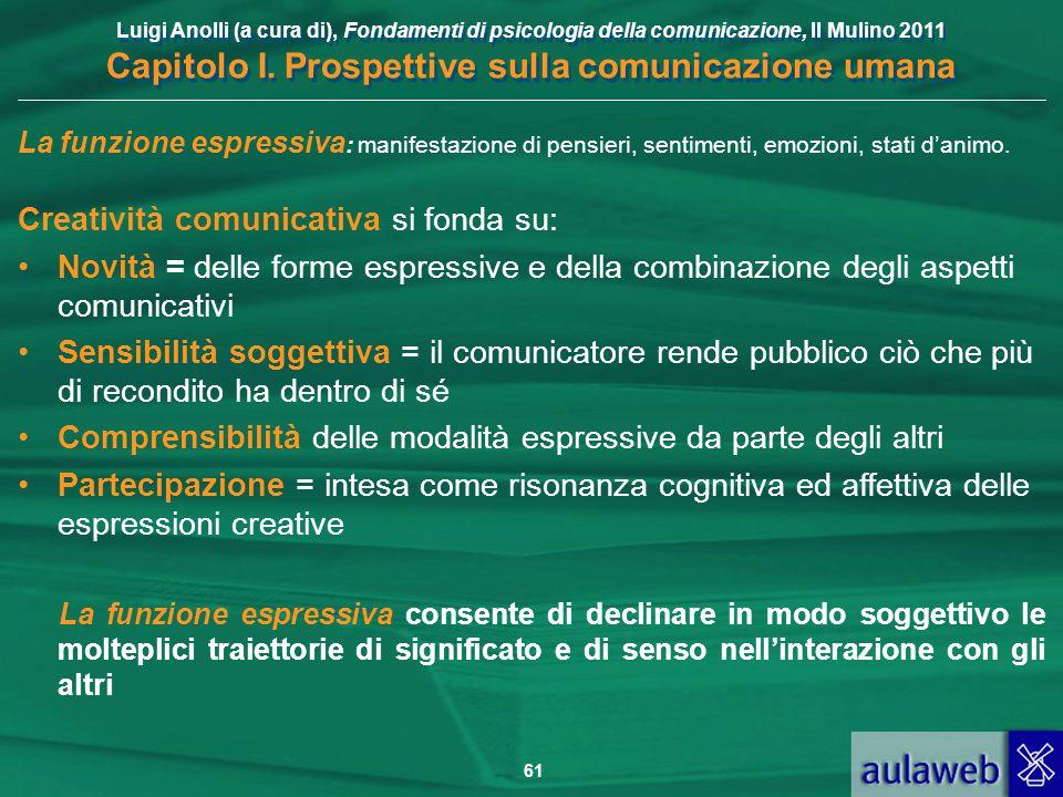 Luigi Anolli (a cura di), Fondamenti di psicologia della comunicazione, Il Mulino 2011 Capitolo I. Prospettive sulla comunicazione umana 61 La funzion