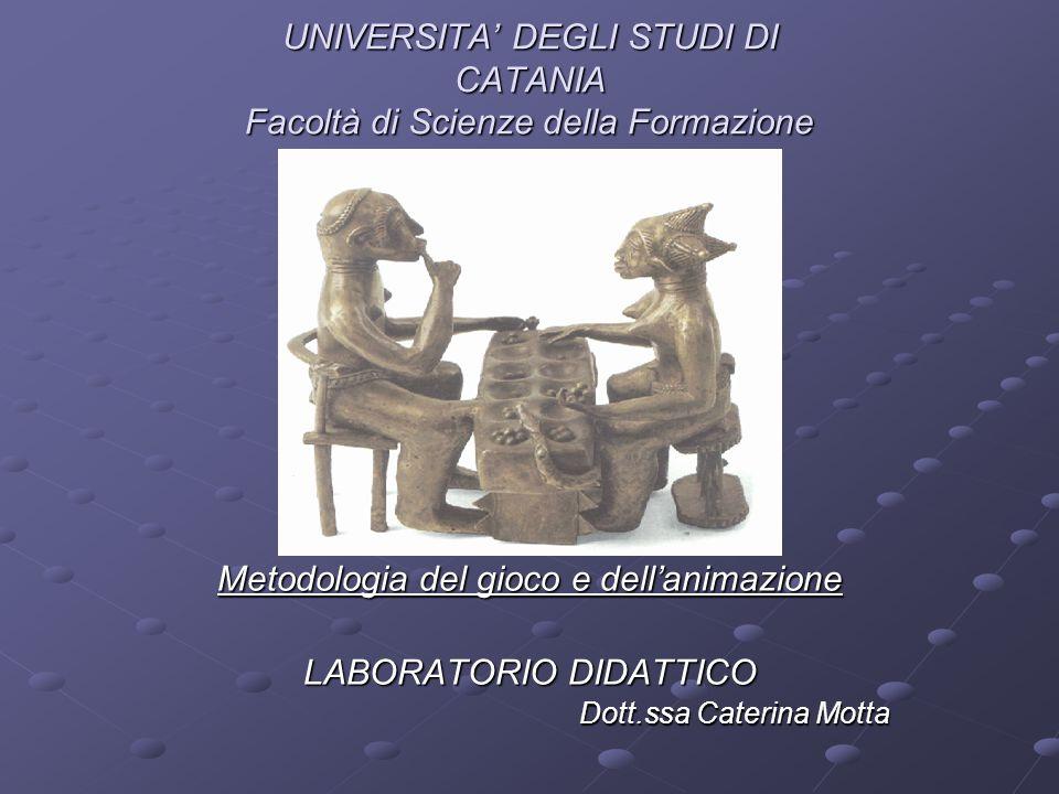 UNIVERSITA' DEGLI STUDI DI CATANIA Facoltà di Scienze della Formazione Metodologia del gioco e dell'animazione LABORATORIO DIDATTICO Dott.ssa Caterina Motta