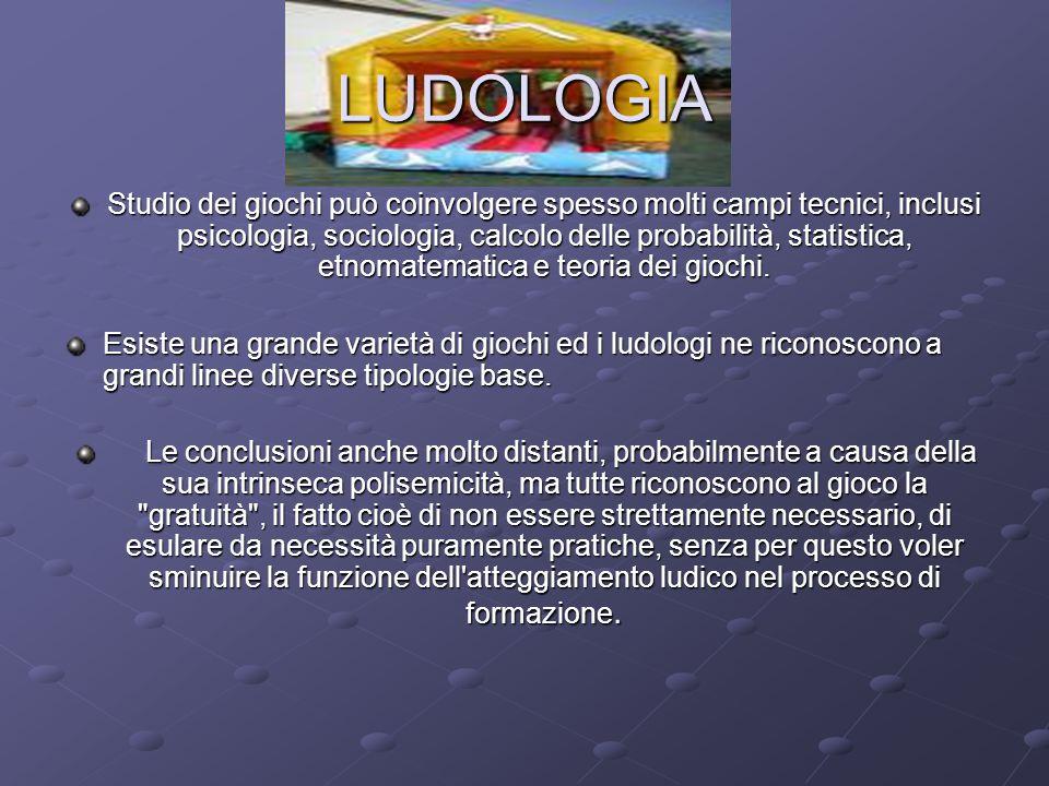 LUDOLOGIA Studio dei giochi può coinvolgere spesso molti campi tecnici, inclusi psicologia, sociologia, calcolo delle probabilità, statistica, etnomatematica e teoria dei giochi.