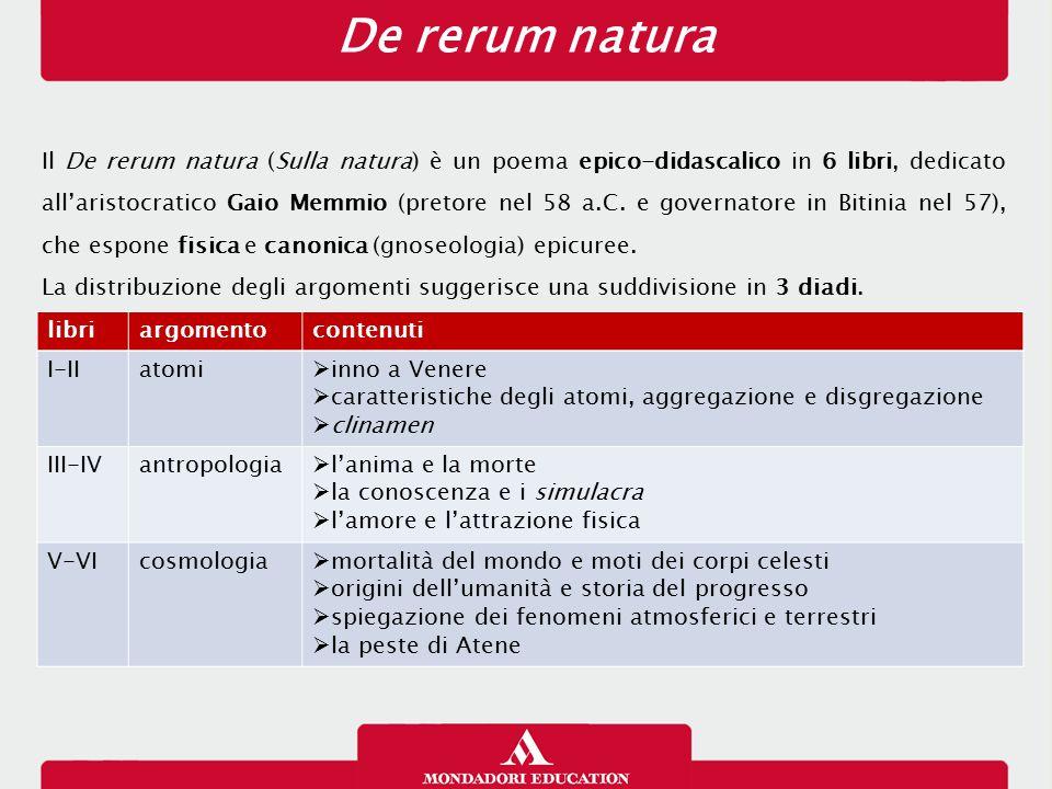 De rerum natura Il De rerum natura (Sulla natura) è un poema epico-didascalico in 6 libri, dedicato all'aristocratico Gaio Memmio (pretore nel 58 a.C.