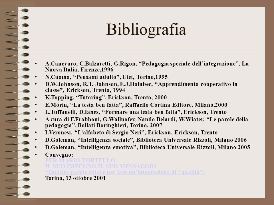 """Bibliografia A.Canevaro, C.Balzaretti, G.Rigon, """"Pedagogia speciale dell'integrazione"""", La Nuova Italia, Firenze,1996 N.Cuomo, """"Pensami adulto"""", Utet,"""