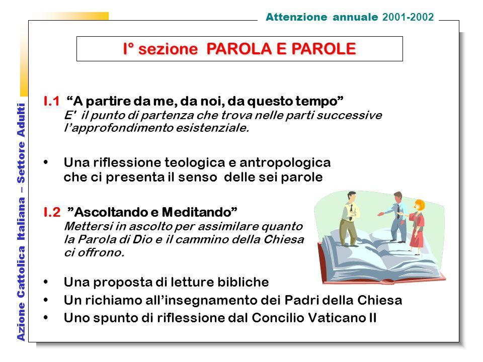 Azione Cattolica Italiana – Settore Adulti I.1 A partire da me, da noi, da questo tempo E il punto di partenza che trova nelle parti successive l'approfondimento esistenziale.