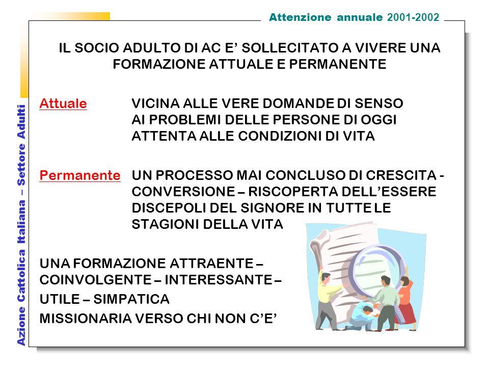 Azione Cattolica Italiana – Settore Adulti II.3 In AC : L'associazione è la strada che abbiamo scelto per dire la nostra fede e il nostro desiderio di santità.