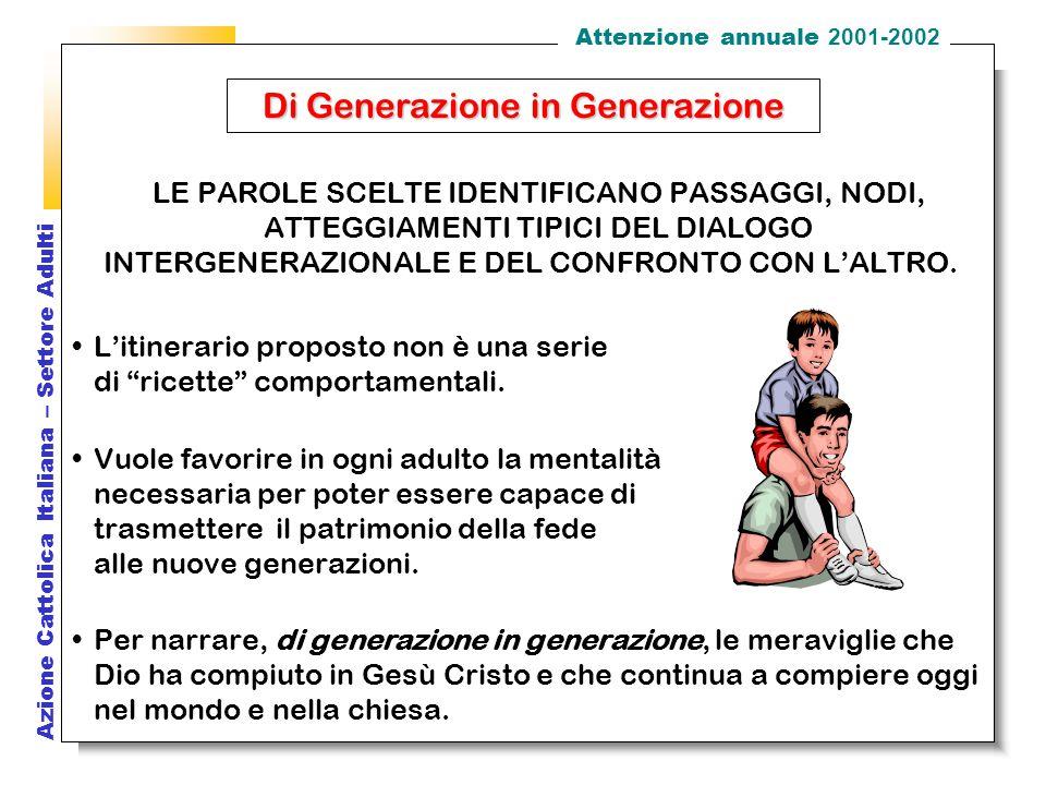 Azione Cattolica Italiana – Settore Adulti LE PAROLE SCELTE IDENTIFICANO PASSAGGI, NODI, ATTEGGIAMENTI TIPICI DEL DIALOGO INTERGENERAZIONALE E DEL CONFRONTO CON L'ALTRO.