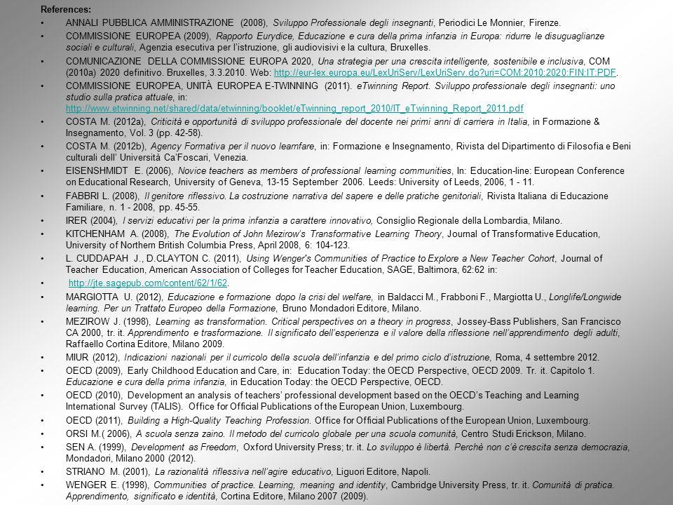 References: ANNALI PUBBLICA AMMINISTRAZIONE (2008), Sviluppo Professionale degli insegnanti, Periodici Le Monnier, Firenze. COMMISSIONE EUROPEA (2009)