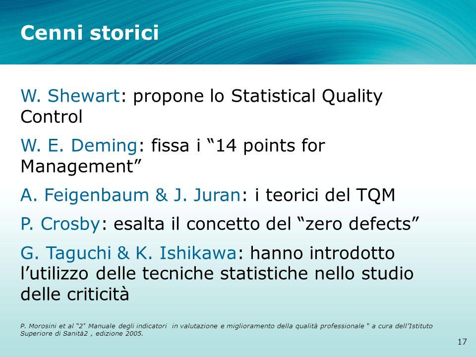 Cenni storici W. Shewart: propone lo Statistical Quality Control W.