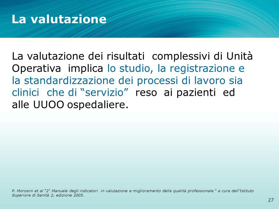 La valutazione La valutazione dei risultati complessivi di Unità Operativa implica lo studio, la registrazione e la standardizzazione dei processi di lavoro sia clinici che di servizio reso ai pazienti ed alle UUOO ospedaliere.