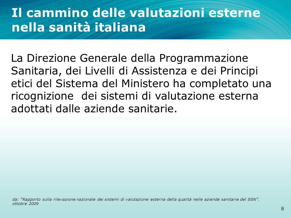 Il cammino delle valutazioni esterne nella sanità italiana 8 La Direzione Generale della Programmazione Sanitaria, dei Livelli di Assistenza e dei Principi etici del Sistema del Ministero ha completato una ricognizione dei sistemi di valutazione esterna adottati dalle aziende sanitarie.