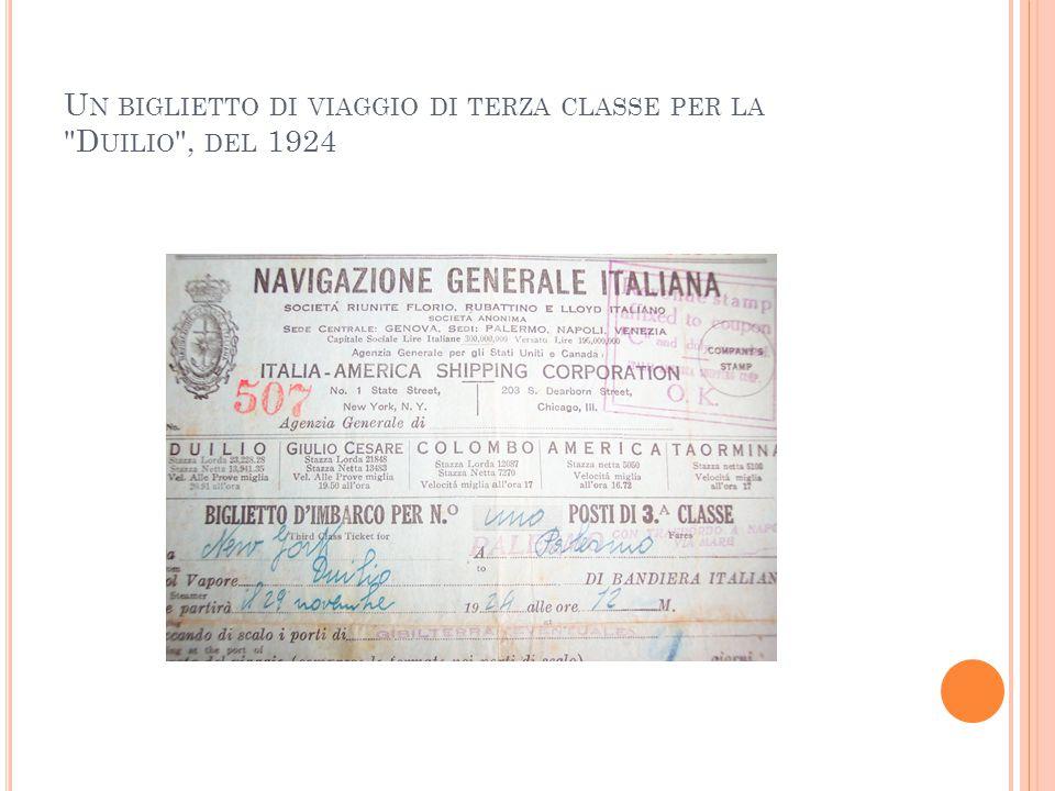 U N BIGLIETTO DI VIAGGIO DI TERZA CLASSE PER LA D UILIO , DEL 1924
