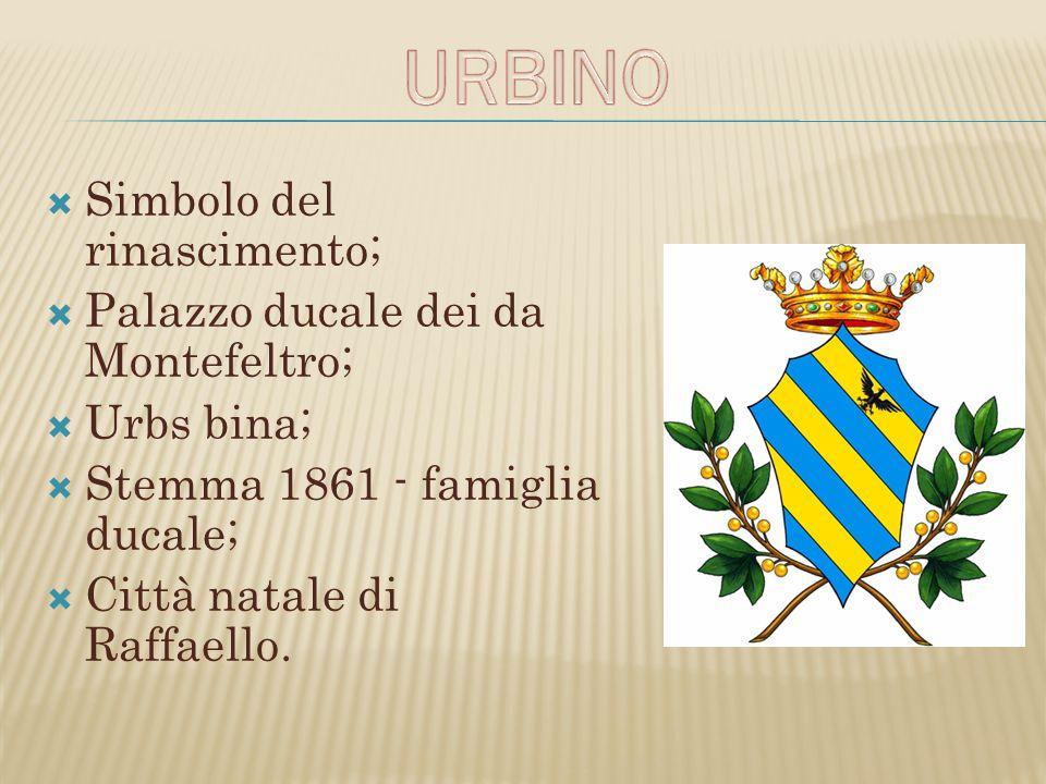  Simbolo del rinascimento;  Palazzo ducale dei da Montefeltro;  Urbs bina;  Stemma 1861 - famiglia ducale;  Città natale di Raffaello.