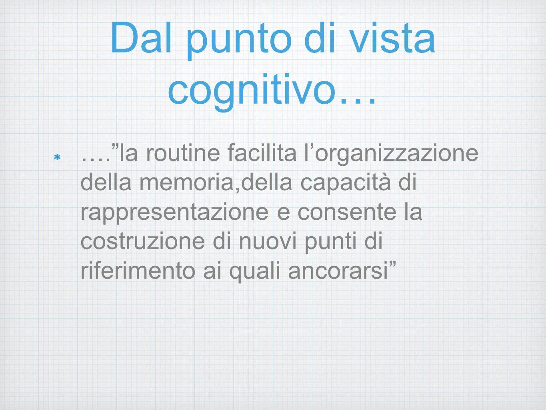 """Dal punto di vista cognitivo… ….""""la routine facilita l'organizzazione della memoria,della capacità di rappresentazione e consente la costruzione di nu"""