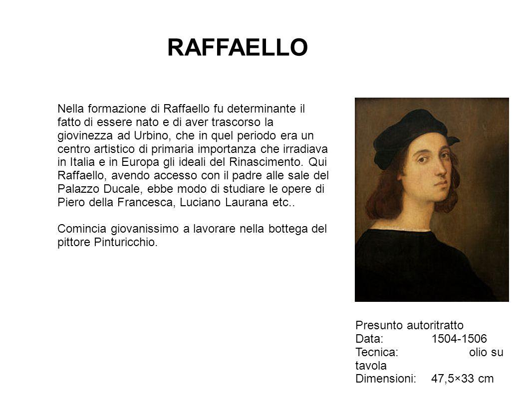 RAFFAELLO Presunto autoritratto Data:1504-1506 Tecnica:olio su tavola Dimensioni:47,5×33 cm Nella formazione di Raffaello fu determinante il fatto di
