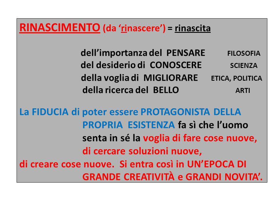 RINASCIMENTO (da 'rinascere') = rinascita dell'importanza del PENSARE FILOSOFIA del desiderio di CONOSCERE SCIENZA della voglia di MIGLIORARE ETICA, P