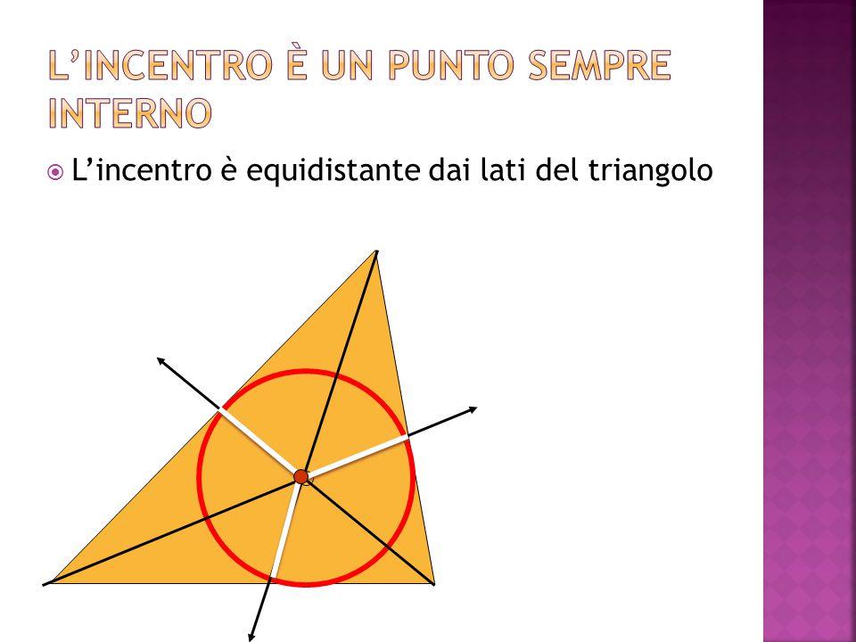  L'incentro è equidistante dai lati del triangolo